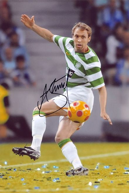 Andreas Hinkel, Glasgow Celtic, signed 12x8 inch photo.